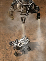 Curiosity being lowered from its rocket pack